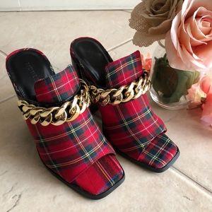 Red Plaid Heels/ Booties